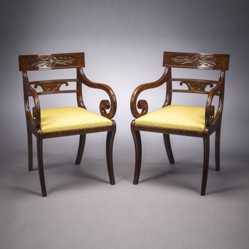 Pair Klismos-form Armchairs, about 1820. Attributed to Issac Vose & Son, Boston (active 1819–25). Mahogany, 32 1/16 in. high, 20 3/4 in. wide, 20 1/2 in. deep (overall).