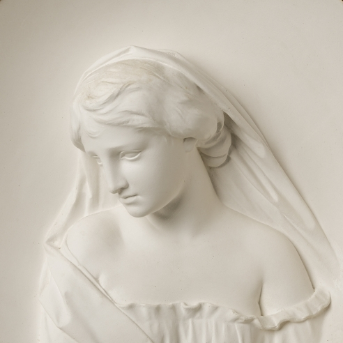 ERASTUS DOW PALMER (1817–1904), Sappho. Plaster, 15 in. diameter. Modeled circa 1858 (detail).