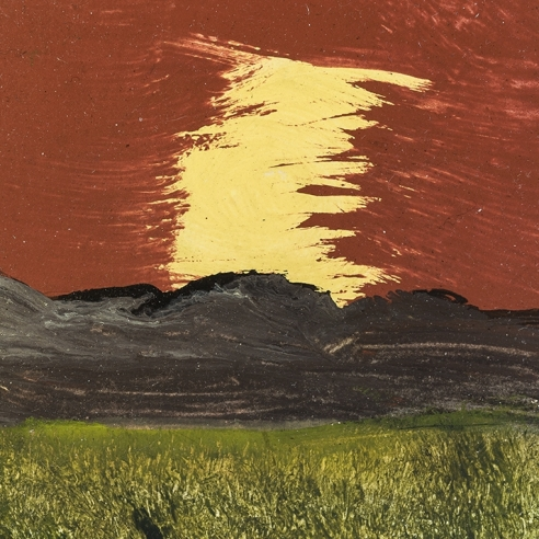 a painting by Frank Walter of black mountains, green field and a deep red and yellow sky