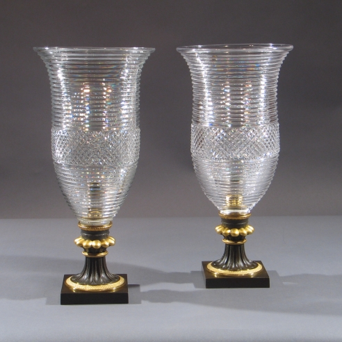 Pair Regency Hurricane Lamps