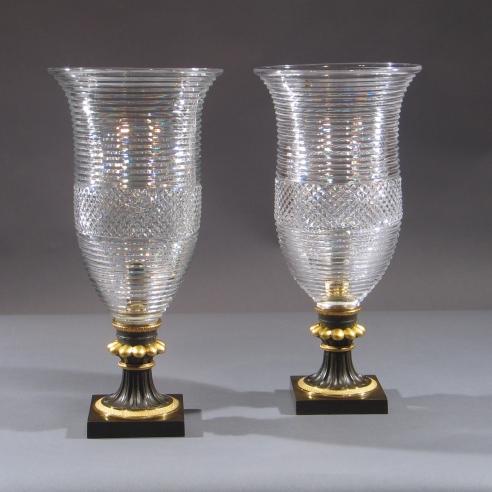 Pair Regency Hurricane Lamps