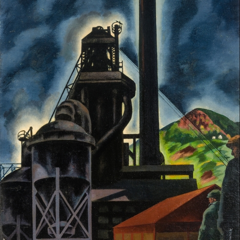 """LOUIS LOZOWICK (1892–1973), """"Blast Furnace: Changing Shifts (Pittsburgh Landscape),"""" 1929–30. Oil on canvas, 25 x 18 in. (detail)."""