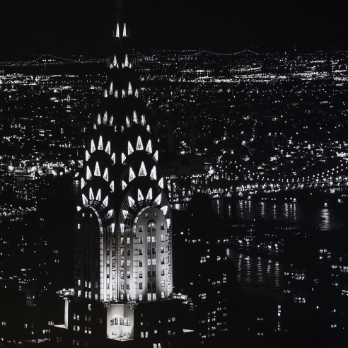 """Image of Colin Brown's """"Chrysler Building"""", carbonized nickel on board, 22 by 29 inches, painted in 2016."""