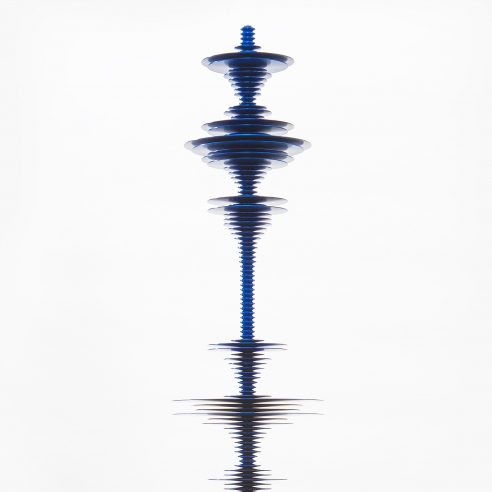 a sculpture by Elizabeth Turk of dark blue aluminum discs stacked and arranged to simultaneously resemble a Modernist abstraction and a sound wave