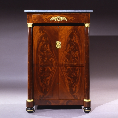 Secrétaire à Abattant, about 1820–25. Attributed to Thomas Emmons and George Archbald, Boston (active together 1814–25). Mahogany and bird's eye maple, with ormolu mounts, die-rolled gilt-brass moldings filled with lead, marble, mirror plate, and leather, variously blind-stamped and gilded, 57 3/16 in. high, 37 1/4 in. wide, 19 3/4 in. deep