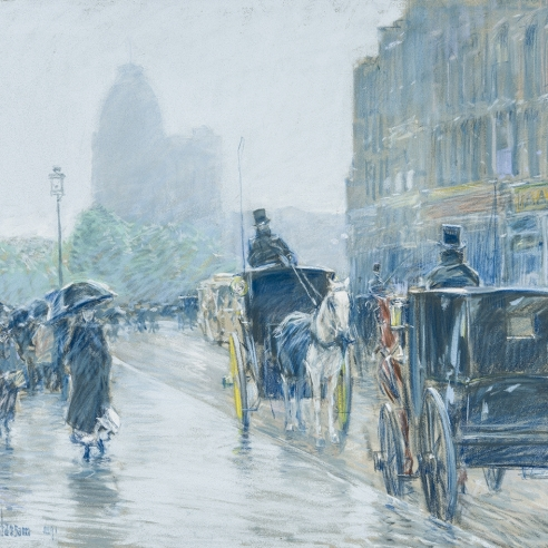 CHILDE HASSAM (1859–1935),  A Wet Day on Broadway, 1891. Pastel on fine-weave canvas, 18 x 21 7/8 in. (detail).