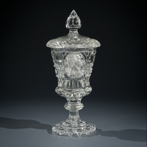 """Clear Glass Covered Urn with Sulphide Portrait of George Washington,"" about 1825. French, probably Baccarat. Glass, blown and cut, with sulphide incrustation, 10 5/8 in. high"