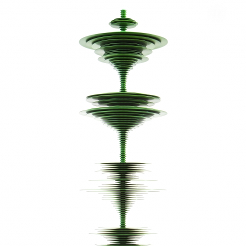 a sculpture by Elizabeth Turk of green aluminum discs stacked and arranged to simultaneously resemble a Modernist abstraction and a sound wave