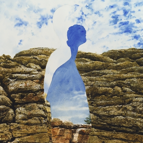 a watercolor painting by Colin Hunt of a silhouette's void in a landscape