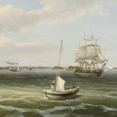 THOMAS BIRCH (1779–1851), View of Philadelphia Harbor, c. 1835–40. Oil on canvas, 20 x 30 1/4 in. (detail)