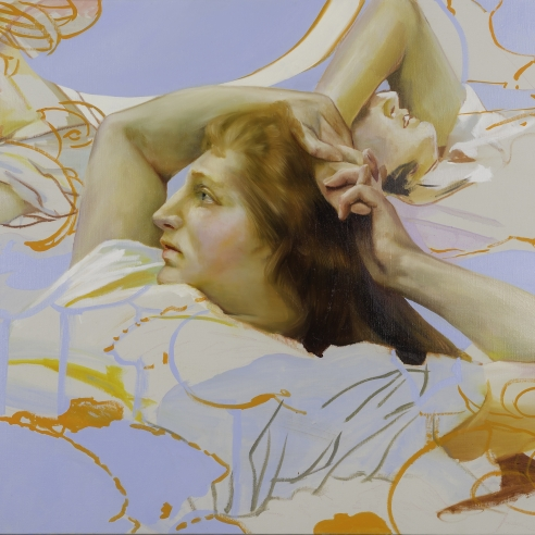 a painting by Angela Fraleigh of three women laying in repose, taken from art historical sources