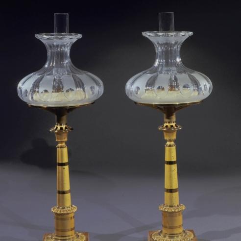 Pair Miniature Columnar Sinumbra Lamps