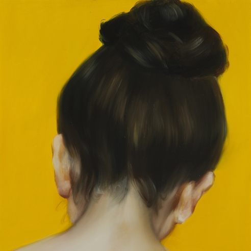 painting of the back of a woman's head with her hair in a bun with a bright pumpkin-colored background