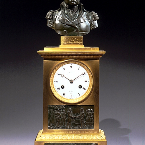 Washington Clock with Relief of Cornwallis Resigning his Sword to Washington