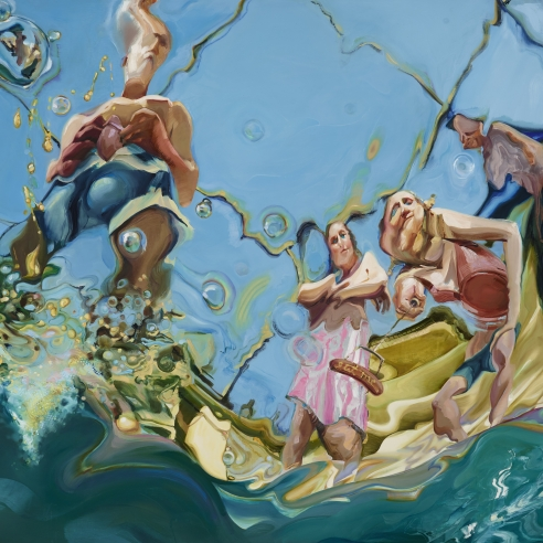 Trial by Water: The Pool Party, 2017, Oil on panel, 48 x 63 inches, viewer underwater looking up at four figures tormenting her.