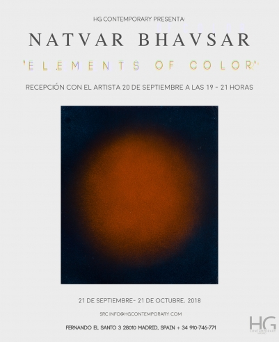 Invitation for Elements of Color by Natvar Bhavsar at Hg Contemporary Art Gallery in Madrid