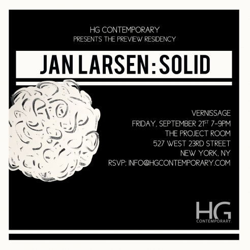 Invitation to Vernissage for Solid by Jan Larsen at Hg Contemporary