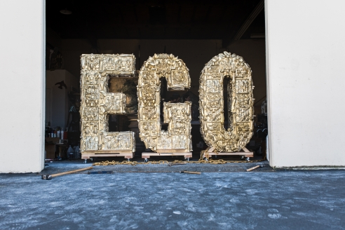 Ego, Monumental Words from If Words Could Speak by Laura Kimpton at Hg Contemporary in Chelsea