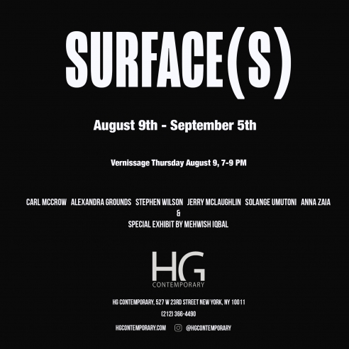 Invitation for Surface(s) at Hg Contemporary art gallery in Chelsea, Nyc