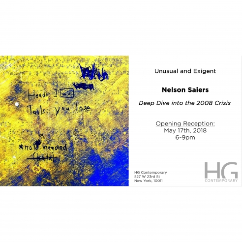 Invitation to Unusual and Exigent by Nelson Saiers at Hg Contemporary gallery in Chelsea, Nyc