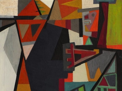 Painting of geometric shapes separated by black lines in a variety of oranges, greens, blues, and greys. On the top left there is a shape resembling the side profile of a human face.