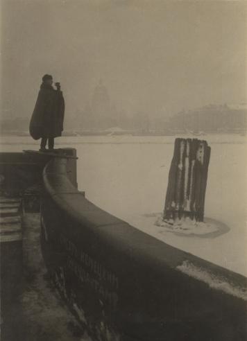observation man at river embankment
