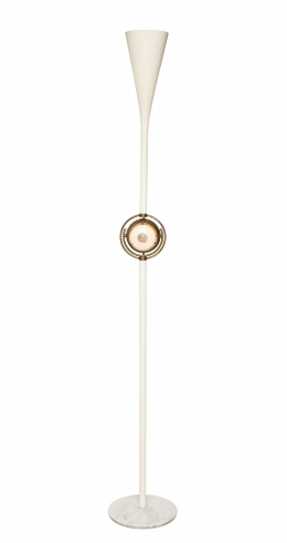 "Rare floor lamp with brass ""Eye Ball"" by Angelo Lelli for Arredoluce"