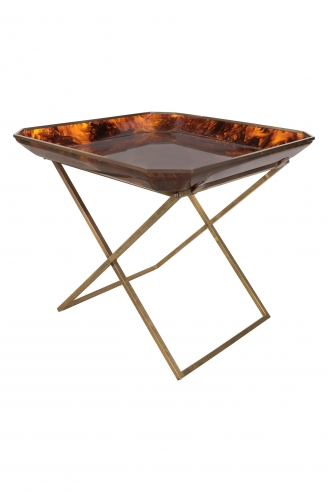 "Tortoise Plexiglas Tray Table with a Brass ""X"" Base, Archea-Milano, 1970"