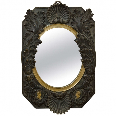 French Neoclassical  Bronze Mirror