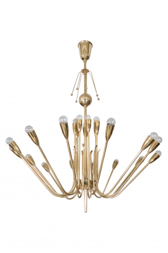 A Large Brass Multi-arm Chandelier