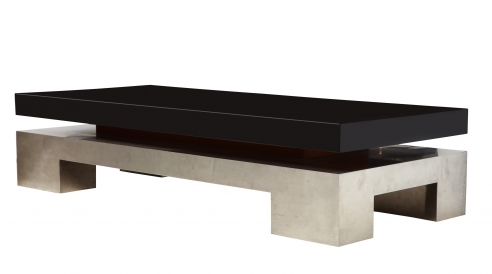 Low table with chrome base and black lacquer top by Nadine Charteret