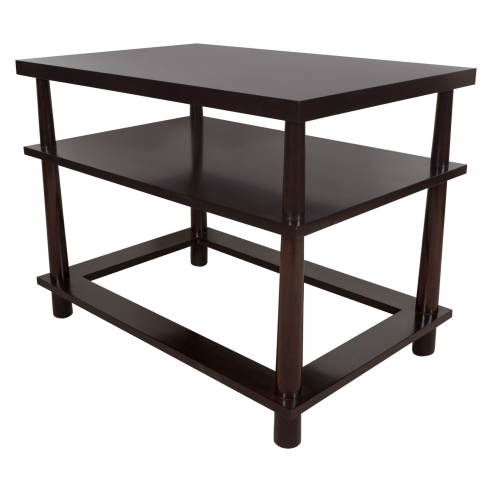 Pair of Three-Tiered End Tables with Hole in the Base By Appel Modern