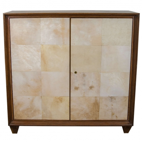 French Parchment and Cerused Oak Cabinet