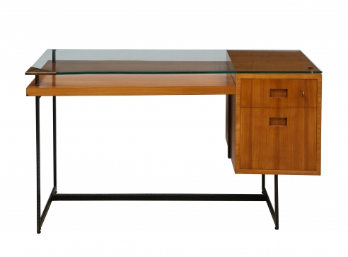 Fruitwood desk with glass top by Adnet