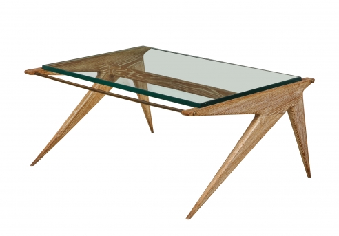 Low Oak and Glass Table by Louis Paolozzi
