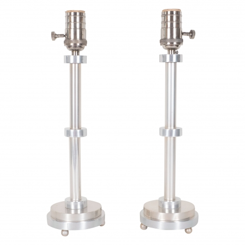 Pair of Aluminum Table Lamps