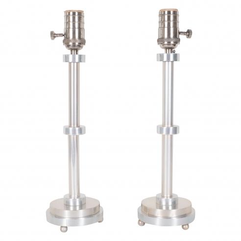 Pair of Aluminum Table Lamps