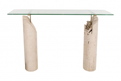 Console in Glass, Bronze, and Travertine