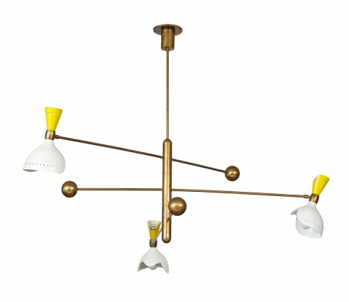 Chandelier with three rotating arms by Stilnovo in yellow and white