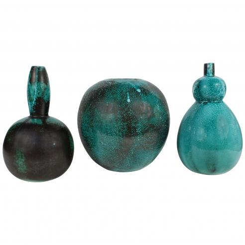 Green Blue Primavera Vases, Signed