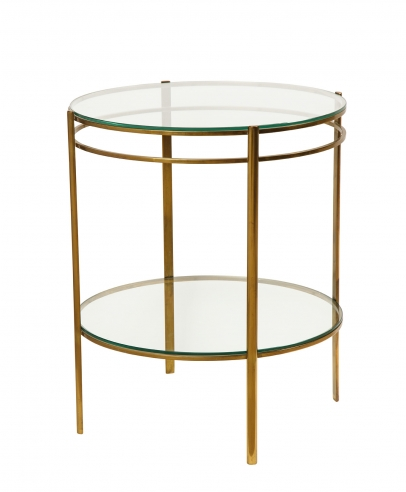 Glass & Brass Side Table by Jacques Quinet for Maison Malabert