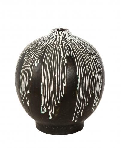 Large round Primavera vase on brown and white glaze