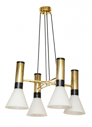 Suspension light in steel and brass by Stilnovo no. 1174