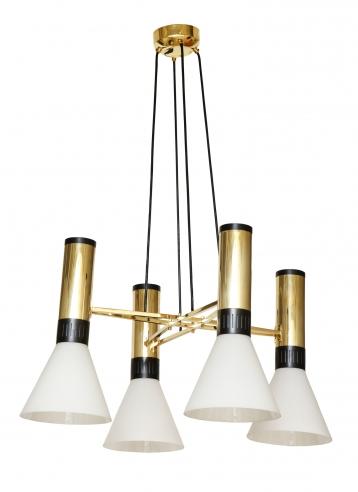 Suspension light in steel and brass by Stilnovo no. 1174