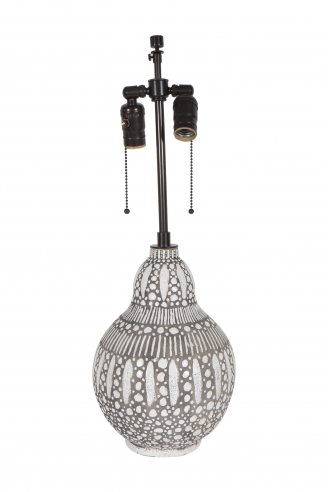 Raoul Lachenal Brown and White Ceramic Vase Lamp