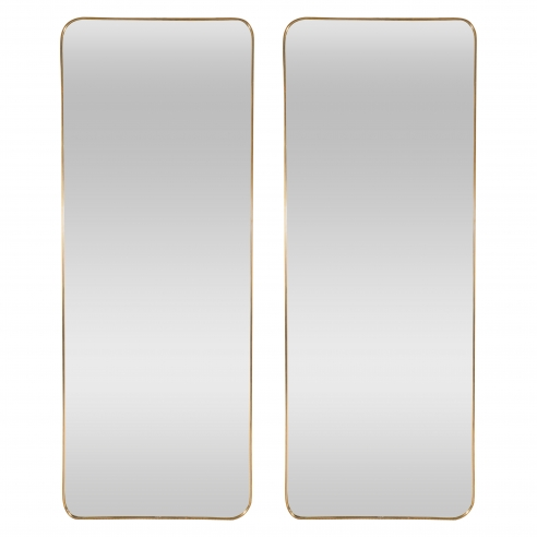 Pair of Brass Modernist Frame Mirrors