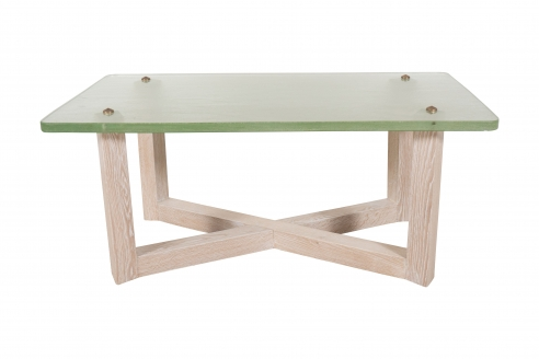 Saint Gobain Glass and Cerused Oak Low Table