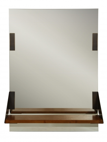 Mirror with walnut and bronze shelf