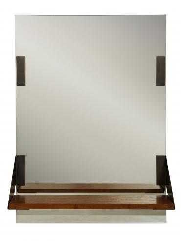 Mirror with walnut and bronze shelf