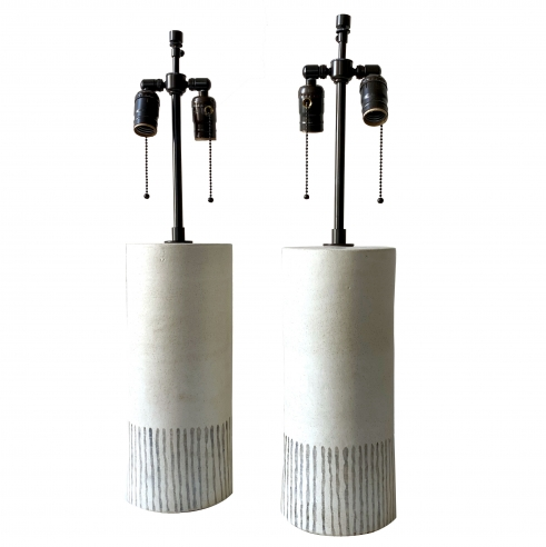 Exceptional Pair of Bruno Gambone Table Lamps